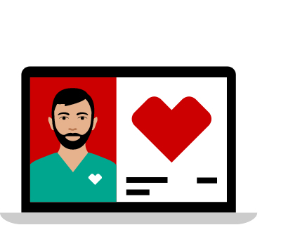 pictogram of split laptop screen dr in green shirt on the left and report with heart on the right