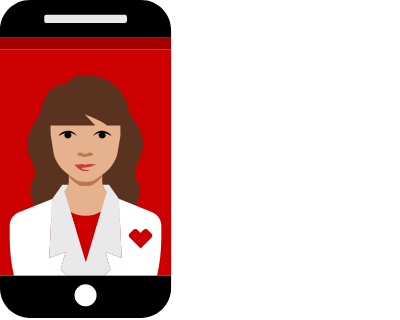 pictogram of mobile phone and woman pharmacist on the screen for telehealth visit