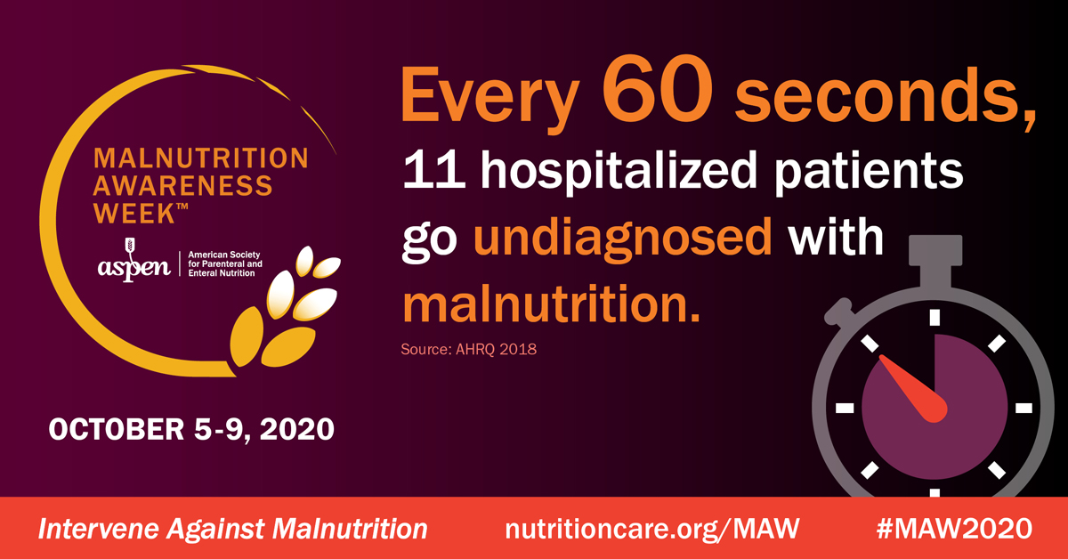 Malnutrition Awareness Week, October 5 through 9, 2020: Every 60 seconds, 11 hospitalized patients go undiagnosed with malnutrition. Source: AHRZ 2018. Intervene against malnutrition. #MAW2020
