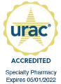 URAC Accreditation Seal, with text that reads: 'Specialty Pharmacy; Expires 05/01/2022'
